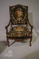 Victorian Matching Arm Chairs with Black Floral Upholstery
