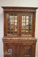 "French Glass China Cabinet with Marble Top Stamped ""Paris"" on Back - Crack in Glass"