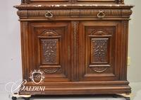 """French Glass China Cabinet with Marble Top Stamped """"Paris"""" on Back - Crack in Glass"""