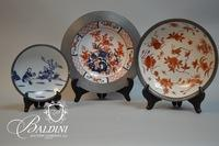 Asian Export Plates with Pewter Rim