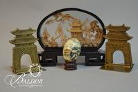Asian Export Items Including Carved Cork, Blown Egg and Bookends
