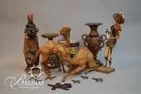 Pair Leather Camels, Paper Mache Figures on Wood Base and other Items