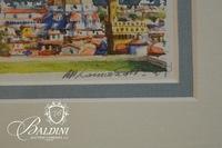 Framed Italian Watercolor - Signature Illegible