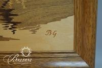 "Buchsmid & Gretaux ""Oberhofen Castle"" Exquisite Marquetry Wood Inlay Art, with ""BG"" Inlay Initials"