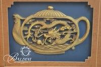 Framed Art of Carved Teapot with Dragon