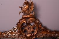 Important Louis XV Giltwood Three-Panel Baroque Banquet Mirror with Winged Dragon