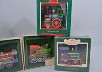 "Rare 1982 ""Tin Locomotive"" and Other 90's Hallmark Ornaments in Box, Approx. 20"