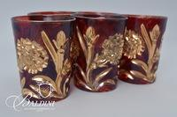 (5) Northwood Cranberry Chrysanthemum Sprig Juice Glasses