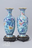 Pair Cloisonne Vases on Stands