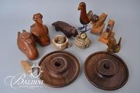 Hand Carved Wood Animals, Swans and Armadillo are Artist Signed