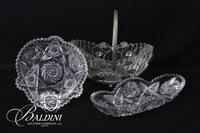 Brilliant Period Crystal Bowl, Celery Dish and Basket in Metal Holder