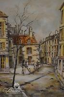 Quercy Watercolor Featuring a Street Scene