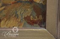Framed Oil on Board, Signed E.J.B. Featuring Windmill Scene