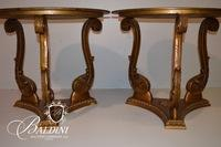 Pair of Vintage French Glass Top End Tables