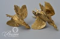 Pair Solid Brass Fighting Roosters