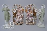 Hand Painted Porcelain Figures with Candleholder and Pair Greek Porcelain Women