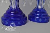 Pair Blue Crystal Lustres