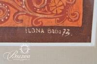 Ilona Bodo Framed Painted Textile, Signed with Picture of Ilono and Husband Sandor Taken January 13, 1994