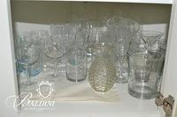 Large Collection of Glassware - Wine Glasses, Champagne Flutes, Green Depression Glass