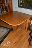 Space Saving Blonde Wood Drop-Leaf Table with (3) Hidden Chairs