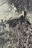 Unsigned Noir Print of Wooden Cabin in Forest
