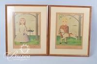 "Pair of James Raker Prints ""Afternoon"" and ""Boy with Horse"", Personalized and Signed"