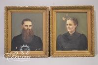 Pair of Antique Oil On Canvas Portraits