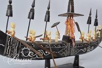 Wood Carved Dragon Ship with Bone Accents and Detailed Inlay