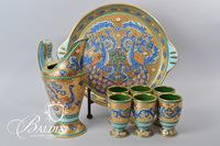 Italian Ceramic Drink Set and Tray with Peacock Detailing