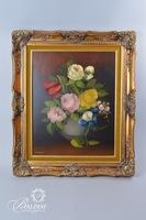 Oil on Canvas in Detailed Gold Frame Signed Ruggeri