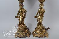 Pair of Brass Lamps with Cherub Accents