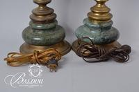 Pair of Marble and Brass Lamps