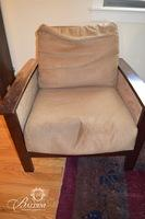 Mission Style Deep Armchair with Suede Upholstery