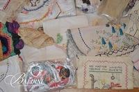 Vintage Linens and Woven Purses