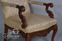 Upholstered Arm Chiar with Acanthus and Foliate Carved Arms, Legs and Seat