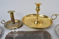 Assorted Candle Holders, Antique Wick Cutter, Snuffer and Candle Mold