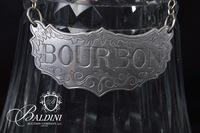 """Baccarat Decanter with Stieff Pewter Hanger Engraved """"Bourbon"""""""