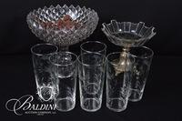 Set of 6 Glasses and 2 Fancy Compotes