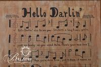 """Hello Darlin"" One-of-a-Kind Musical Manuscript Oil on Canvas Signed W. Moyer, September 1971"