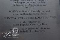 """WHN Listeners Choice Award Presented to Conway Twitty and Loretta Lynn for """"Most Popular Group or Duo"""", 1976"""