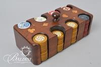 Vintage Poker Set in Wooden Holder with Inlay