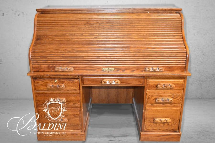 Baldini Auction Auction Antique Furniture Books And Collectibles Auction Item G R Winners Only Inc Oak Rolltop Desk With Key