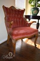 Victorian Tufted Back Chair with Arms and Features a Porcelain Medallion Accent