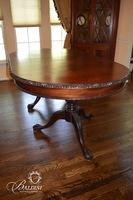 Chippendale Dining Table on Pedestal Base with Two Aproned Leaves