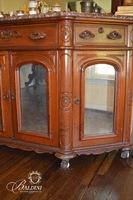 Heavily Carved Early Marbletop Mirrored Buffet