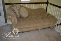 Heavily Carved Upholstered Tufted Settee