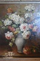 Original Oil on Canvas Floral Painting in Heavily Carved Frame with COA