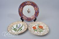 (3) Hand Painted Botanical Decorative Plates