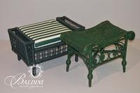 (2) Green Wicker Stools