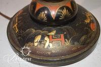 Asian Hand Painted Wood Lamp With Shade